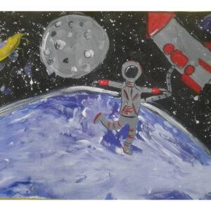 детский рисунок космонавт в открытом космосе