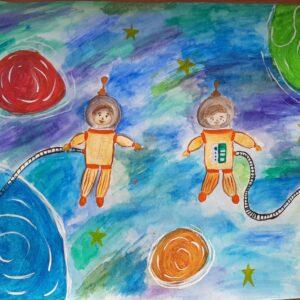 Детский рисунок космонавты в открытом космосе
