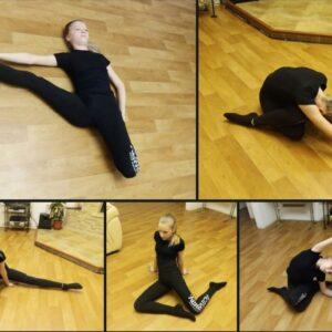Обучающаяся делает гимнастику
